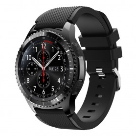 Silikoni Sport rannerengas Samsung Gear S3 Frontier - S3 Classic (musta)